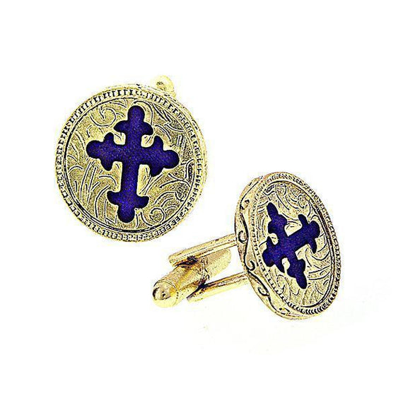 14K Gold-Dipped Blue Enamel Cross Round Cuff Links
