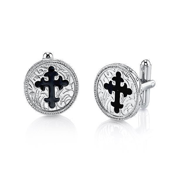 Silver Tone Black Enamel Cross Round Cuff Links
