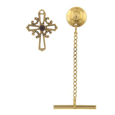 14K Gold-Dipped Red Crystal Cross Tie Tack