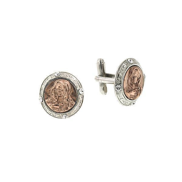 Rose Gold Tone And Silver Tone Mary Round Cuff Links