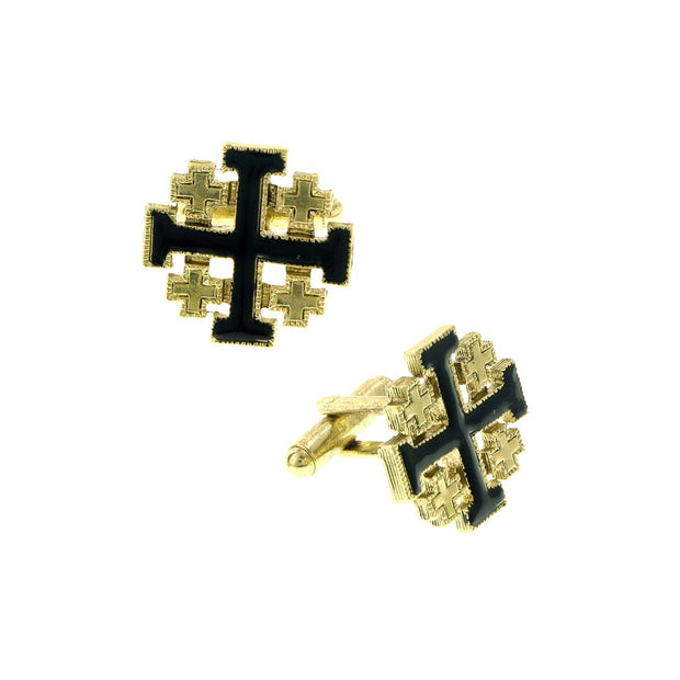 Symbols Of Faith 14K Gold-Dipped Black Enamel Jerusalem Cross Cuff Links