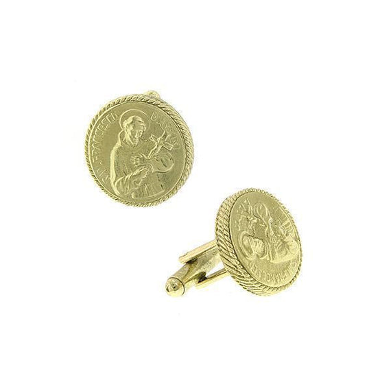14K Gold-Dipped St. Francis of Assisi Round Cuff Links