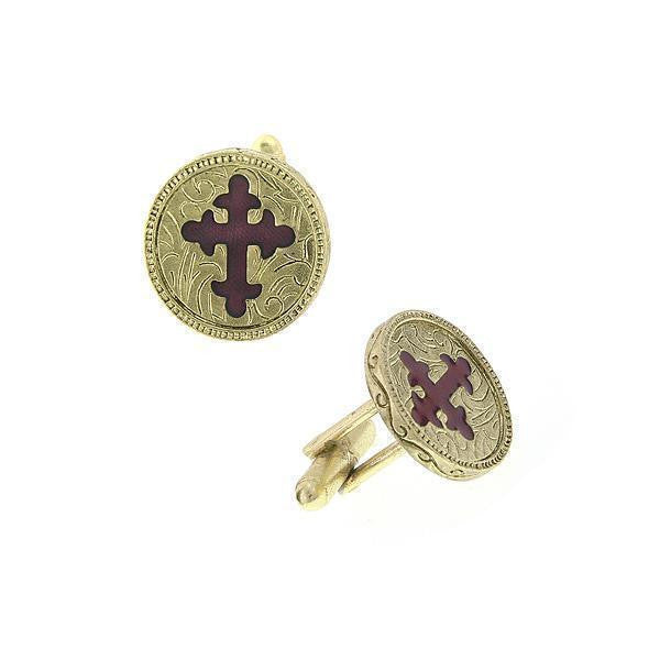 14K Gold Dipped Red Enamel Cross Round Cuff Links