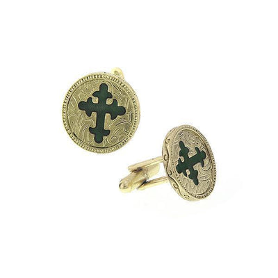 14K Gold-Dipped Green Enamel Cross Round Cuff Links