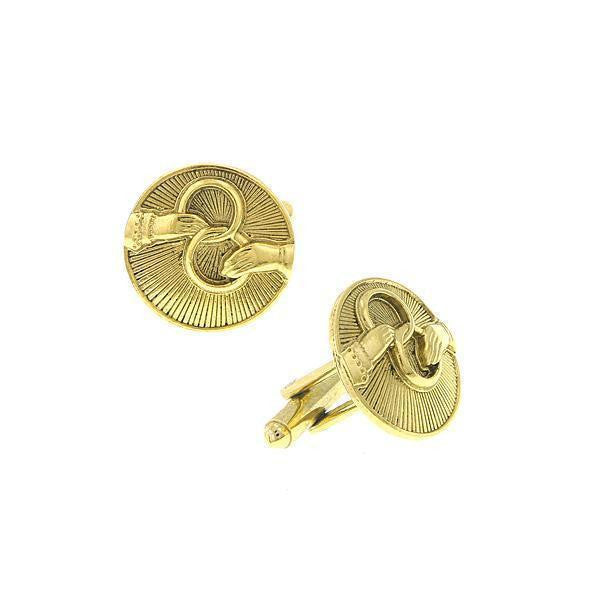 14K Gold Dipped Interlocking Rings Round Cuff Links