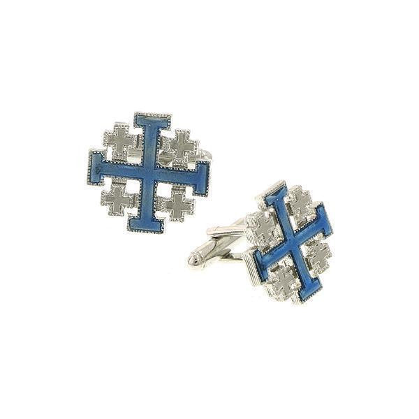Silver Tone Blue Enamel JerUSAlem Cross Cuff Links