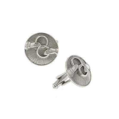 Silver Tone Interlocking Rings Round Cuff Links
