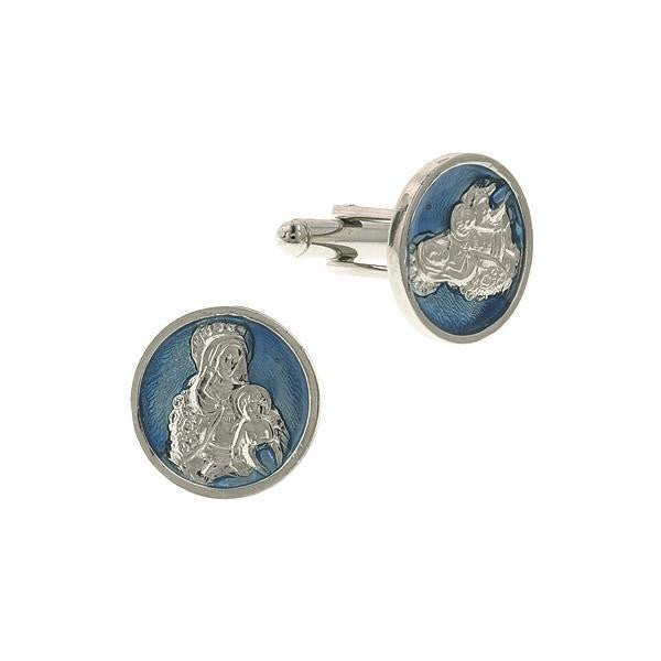Silver Tone Blue Enamel Holy Mother And Child Round Cuff Links