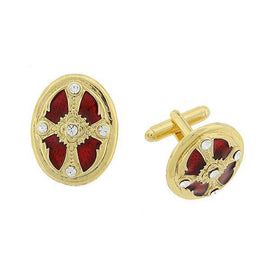 1928 Jewelry: Symbols of Faith - Symbols of Faith 14K Gold-Dipped Crystal Red Enamel Cross Cuff Links