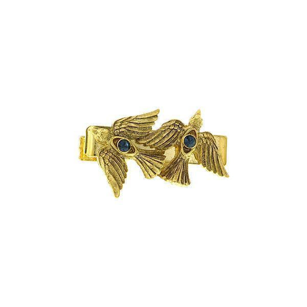 14K Gold Dipped Blue Crystal Two Dove Tie Bar Clip