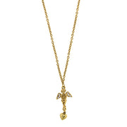14K Gold Dipped Crystal Angel Heart Necklace 16   19 Inch Adjustable