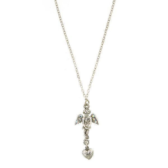 Silver-Tone Crystal AB Angel Heart Necklace 16  Adj.