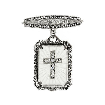 Silver Tone Frosted Stone Crystal Cross Drop Bar Pin
