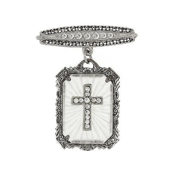 Silver-Tone Frosted Stone Crystal Cross Drop Bar Pin