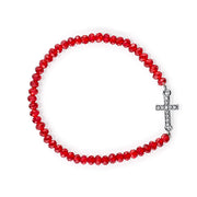 Silver Tone Crystal Sideways Cross Red Bead Stretch Bracelet