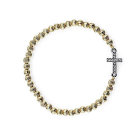 1928 Jewelry: Symbols of Faith - Symbols of Faith 14K Gold-Dipped and Silver-Tone Crystal Sideways Cross Bead Stretch Bracelet