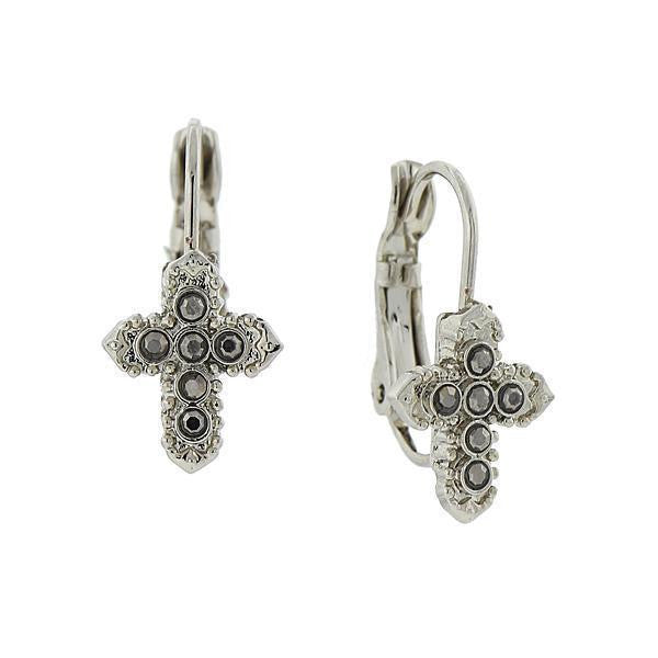 Silver Tone Hematite Color Petite Cross Earrings