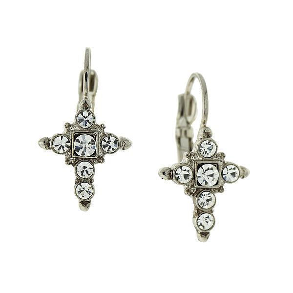 Silver Tone Crystal Cross Earrings