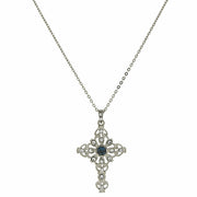 Silver-Tone Blue And Crystal Cross Necklace 16 - 19 Inch Adjustable