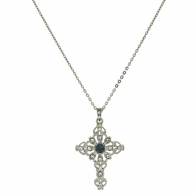 Silver-Tone Blue and Crystal Cross Necklace 16 In Adj