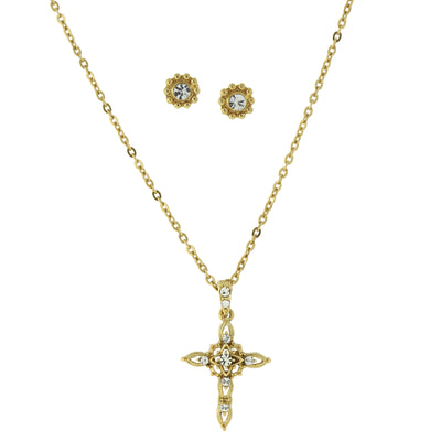 14K Gold-Dipped Crystal Cross Necklace and Earrings Set