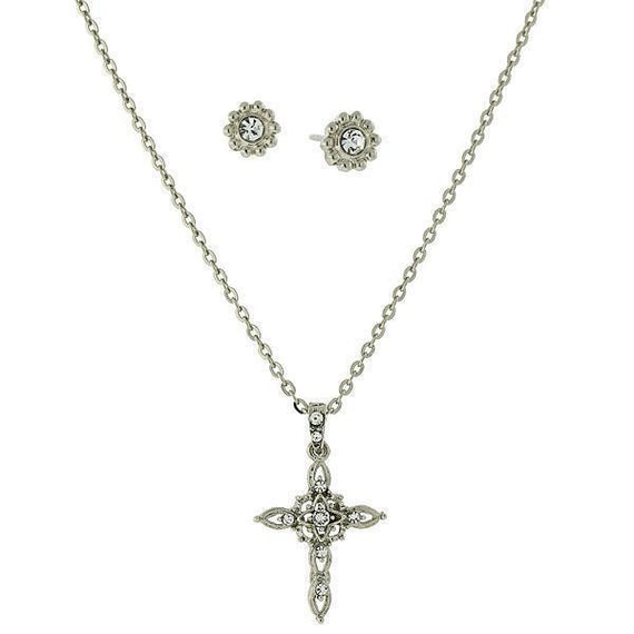 Silver-Tone Crystal Cross Necklace and Earrings Set