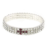 Silver Tone Rhinestone Cross Stretch Bracelet