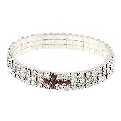 Silver-Tone Rhinestone Cross Stretch Bracelet