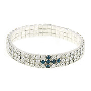 Silver Tone Rhinestone Cross Stretch Bracelet Gift Box