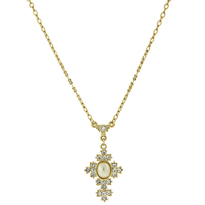 14K Gold Dipped Costume Oval Pearl Crystal Cross Necklace 16   19 Inch Adjustable