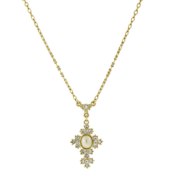 14K Gold-Dipped Costume Oval Pearl Crystal Cross Necklace 16 - 19 Inch Adjustable