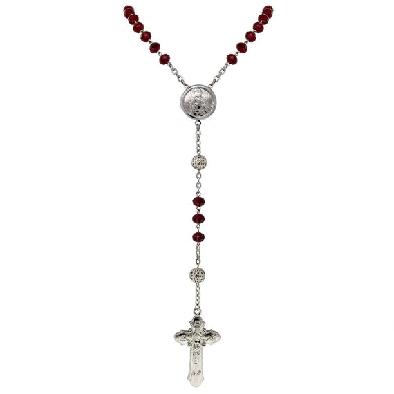 1928 Jewelry Silver Tone Red Crystal Beaded with Silver Locket Crucifix Rosary