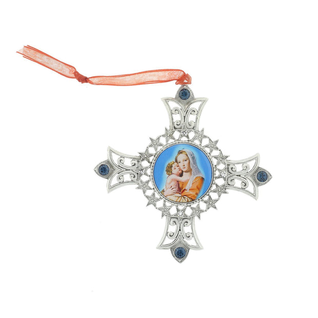 Silver Tone Mother And Child Decal Cross Ornament With Blue Crystal Accents