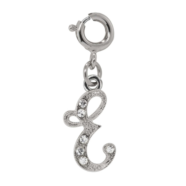 Silver-Tone Crystal Initial Charms E