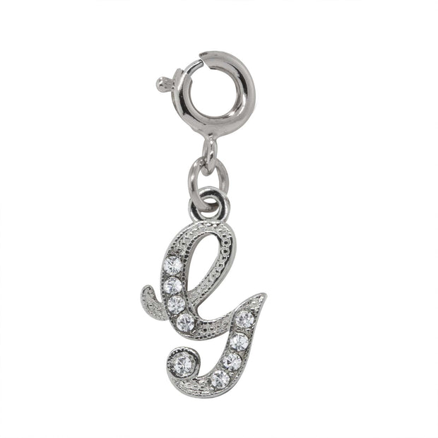Silver Tone Crystal Initial Charms G