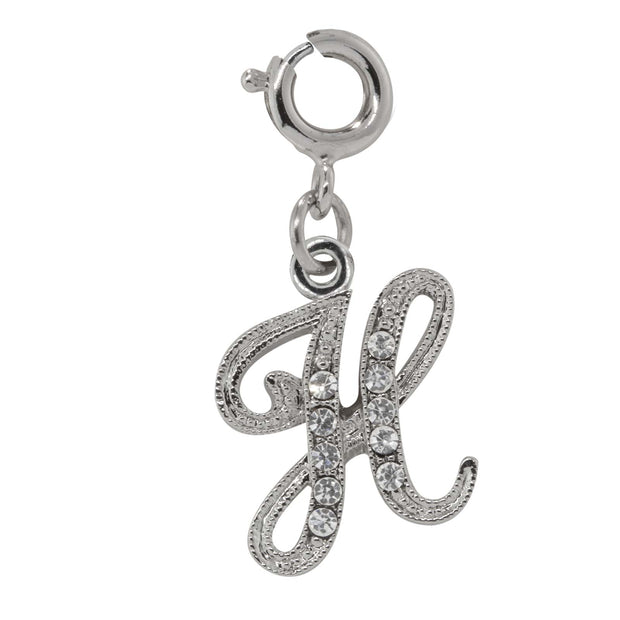 Silver-Tone Crystal Initial Charms H