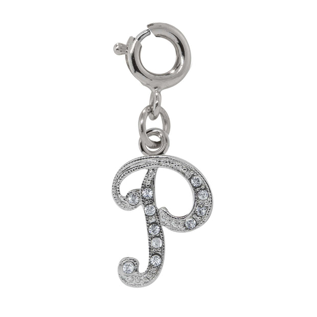 Silver-Tone Crystal Initial Charms P