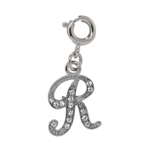 Silver Tone Crystal Initial Charms R
