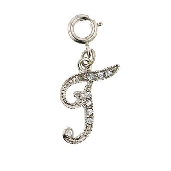 "Silver-Tone Crystal Initial ""T"" Charm"