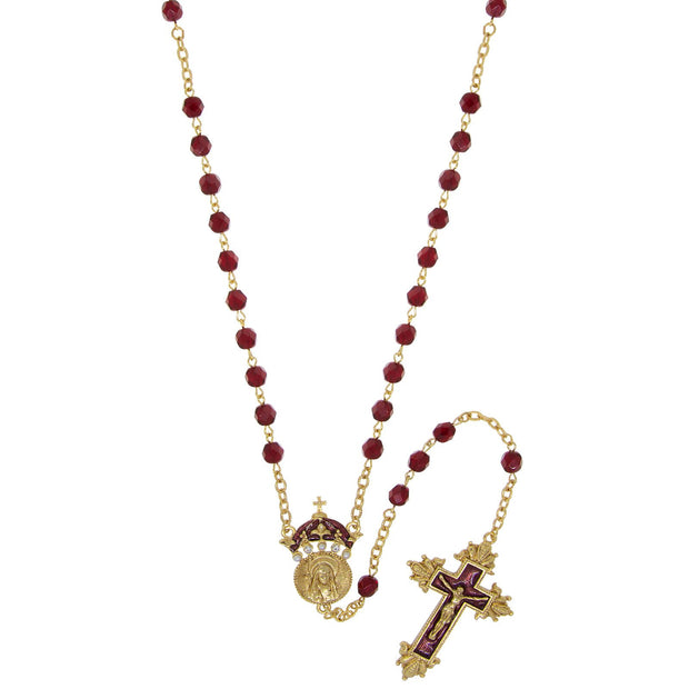 14K Gold-Tone Red Bead and Enamel  King of Kings  Rosary