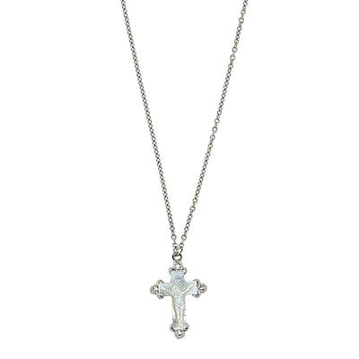 "Silver-Tone Genuine Mother of Pearl Crucifix Necklace 16"" Adj."