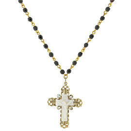 1928 Jewelry: Symbols of Faith - Symbols of Faith 14K Gold-Dipped Black Bead Genuine Mother of Pearl Crucifix Necklace
