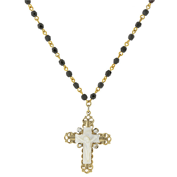 14K Gold-Dipped Black Bead and Genuine Mother Of Pearl Crucifix Necklace 16 In  Adj