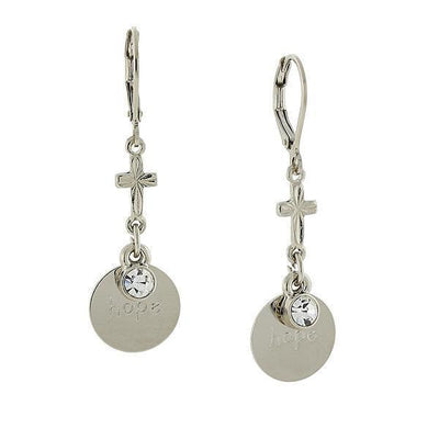 Carded Silver Tone Crystal  Hope  Drop Earrings