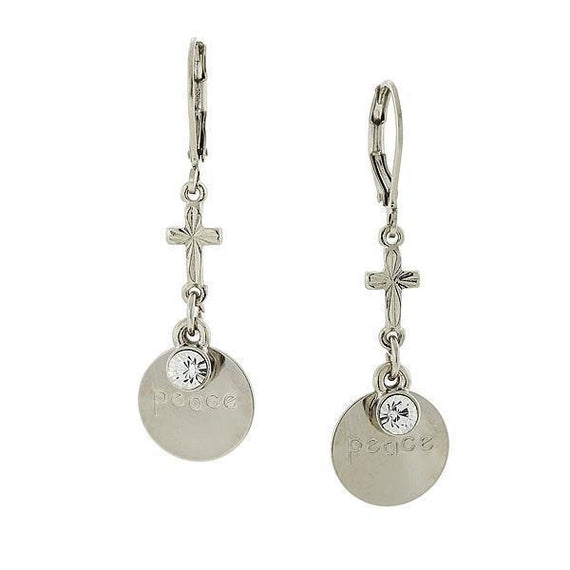 Carded Silver-Tone Crystal  Peace  Drop Earrings
