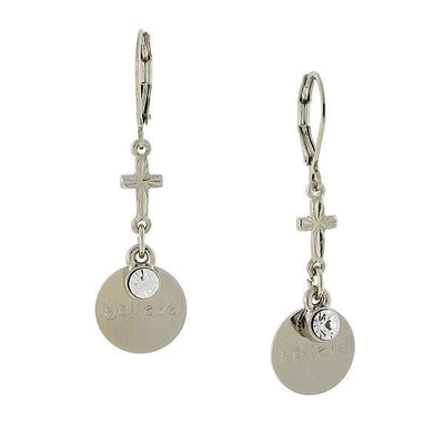 Carded Silver Tone Crystal  Believe  Drop Earrings