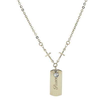 Silver Tone Crystal Cross Chain  Peace  Necklace 20 In