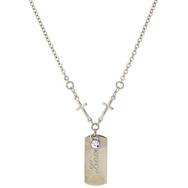 "1928 Jewelry: Symbols of Faith - Symbols of Faith Silver-Tone Crystal Cross Chain ""Love"" Necklace"