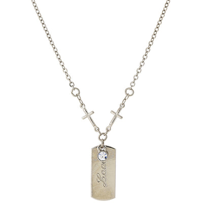 Silver Tone Crystal Cross Chain  Love  Necklace 20 In
