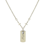 Silver Tone Crystal Cross Chain  Hope  Necklace 20 In